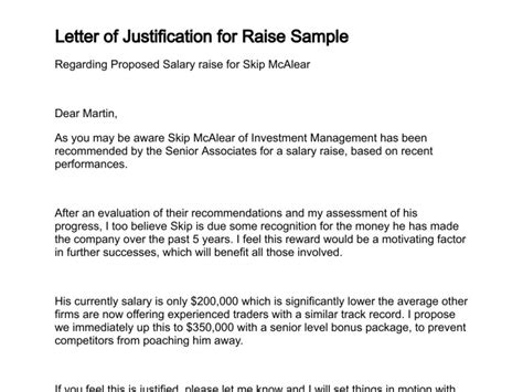 Justification Letter For Raise Letter Of Justification