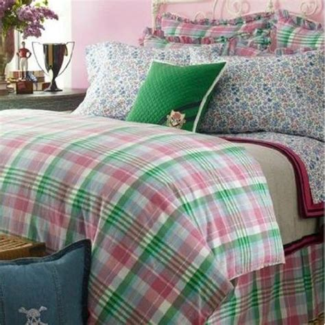 ralph lauren plaid bedding ralph lauren university bedding caitlin twin comforter green pink blue plaid new ebay