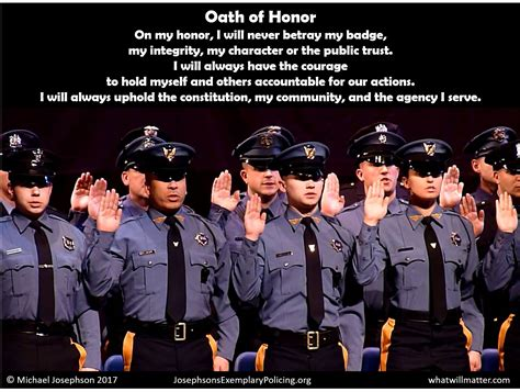 oath of honor blue justice oath of honor exemplary policing