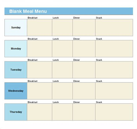 21 Blank Menus Sle Templates Free Printable Lunch Menu Template