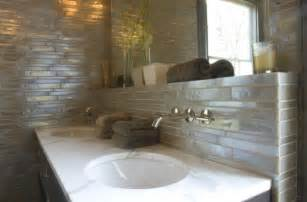 backsplash ideas for bathroom white glass tile backsplash contemporary bathroom baines