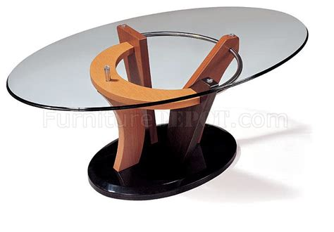 artistic coffee table with oval glass top