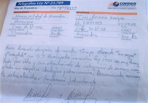 telegrama de renuncia correo argentino taringa empleados municipales reclaman por aumento en negro e