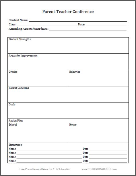 student learning log template parent conference log sheet free to print k