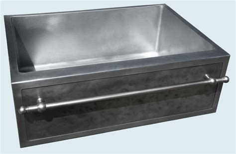 Custom Zinc Sink With Framed Apron Stainless Towel Bar