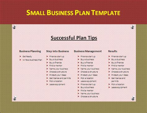 business plan template small business plan template classroom