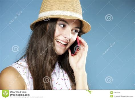 Happy Doll With Phone Blue happy talking mobile phone stock photo image 32606938