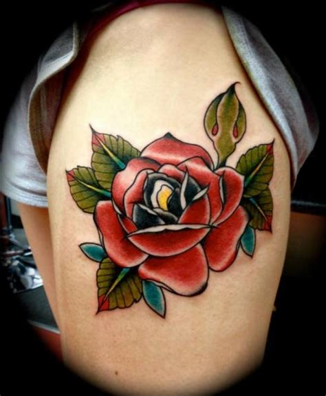 tattoo flower old school old school flower thigh tattoo by renaissance tattoo