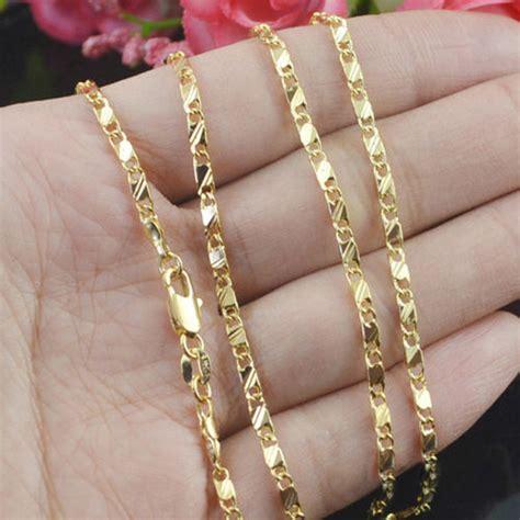 cadena oro mujer 18k moda llenado 18k amarillo oro plateado cadena collar de