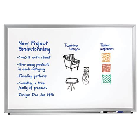 Office Depot Whiteboard Foray Aluminum Framed Erase Board With Marker 24 X 36
