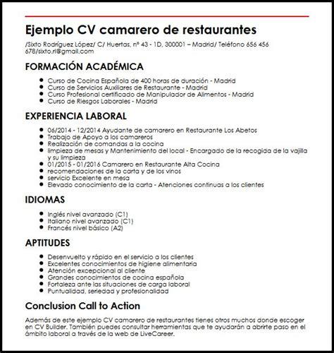 Modelo Curriculum Camarero En Ingles Ejemplo Cv Camarero De Restaurantes Micvideal