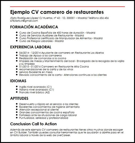 Modelo Curriculum Camarero Ejemplo Cv Camarero De Restaurantes Micvideal