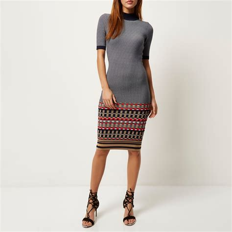 river island knitted dress lyst river island navy knitted bodycon midi dress in blue