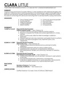 Career Counselor Resume Sample Best Drug And Alcohol Counselor Resume Example Livecareer