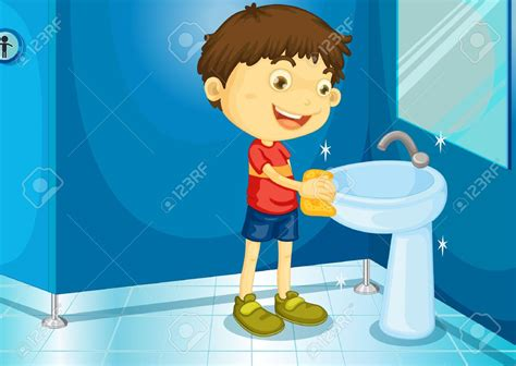 wash the bathroom boy cleaning restroom clipart free clipground