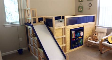 ikea hacker kura transformed into bed play structure combo