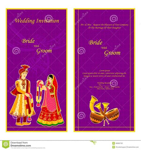 Indian Wedding Card Design Vector by Indian Wedding Invitation Card Stock Vector Image 48582702
