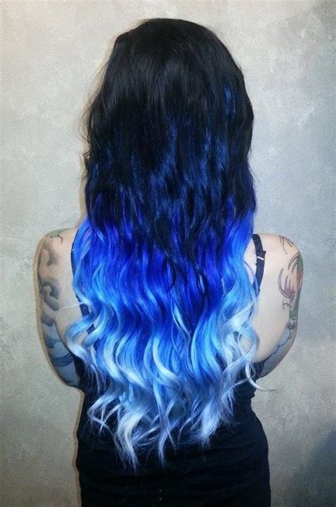 colour hair lighter on bottom black to light blue ombre crazy hair colors pinterest