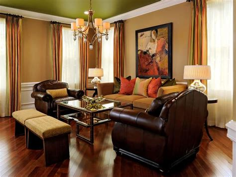 orange green and brown living room colorful ceiling gives alluring detail to living room hgtv