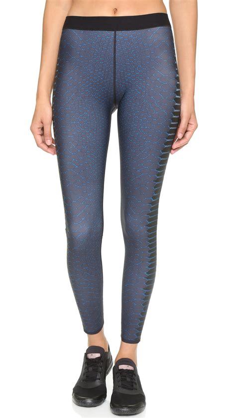 teal patterned leggings lyst ultracor cobra print leggings teal in blue