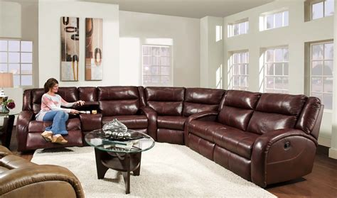 superb leather reclining sectional in living room rustic
