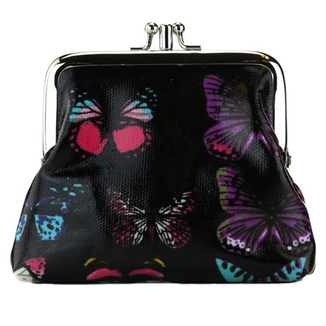 Butterfly Coin Purse coin purse oilcloth butterfly black