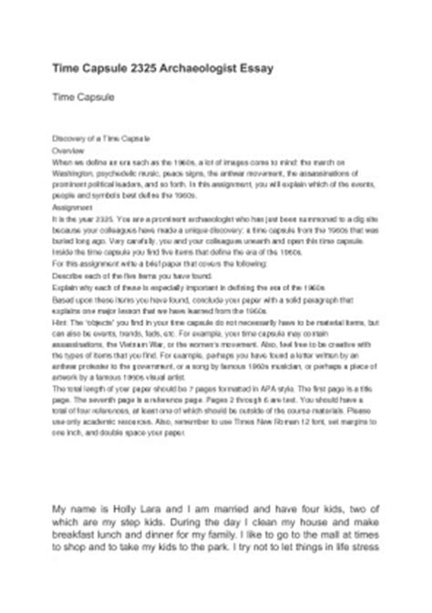 Time Capsule Essay by How To Write A Time Capsule Essay