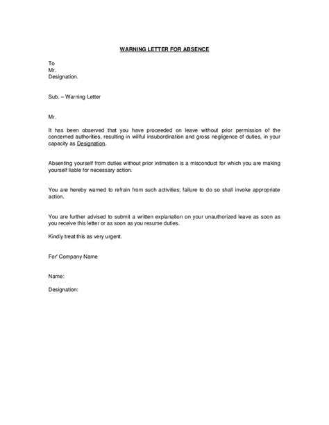 Apology Letter To For Absence Without Notice Warning Letter Sle Sle Business Letter