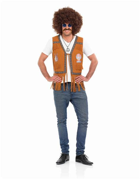 Mens Hippie Fringed Waistcoat Costume for 60s 70s Hippy