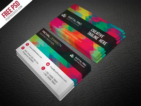 Free Creative Business Card Psd Templates by Creative Multicolor Business Card Template Free Psd