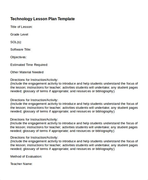 technology integration lesson plan template printable lesson plan 7 free word pdf documents