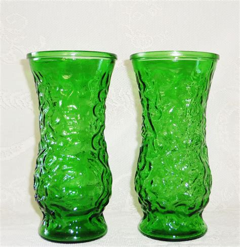 Vintage Vase by Vintage Emerald Green Hoosier Glass Vases 2 Vintage Green