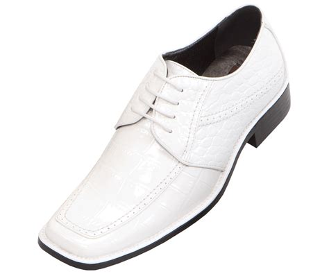 wide mens dress shoes bolano mens wide width white croc print oxford dress shoe