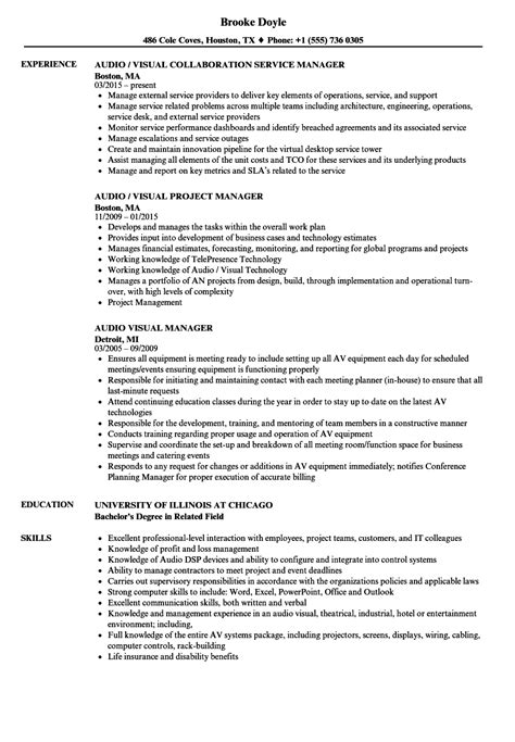 Audio Visual Manager Sle Resume by Audio Visual Manager Resume Sles Velvet