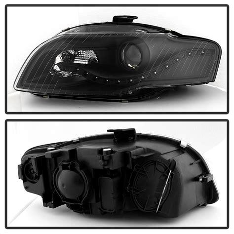 audi a4 2006 led headlights blk 2006 2008 audi a4 s4 b7 r8 style led drl halogen type