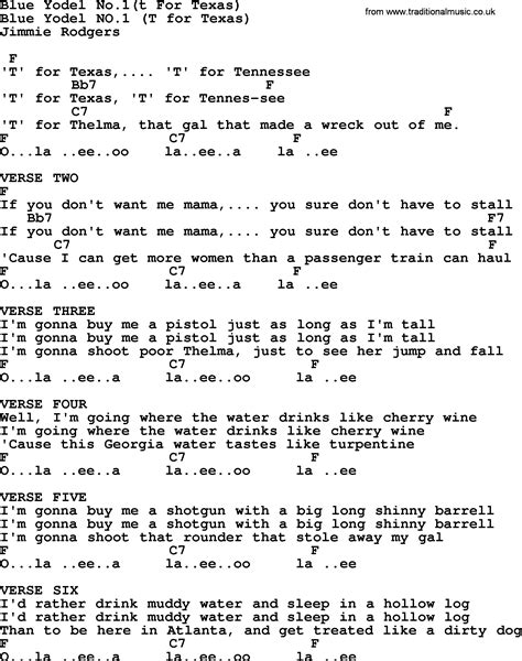 song t blue yodel no 1 t for texas bluegrass lyrics with chords