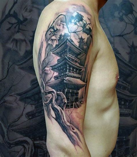 japanese building tattoo designs half sleeve tree branch with japanese temple mens tattoos