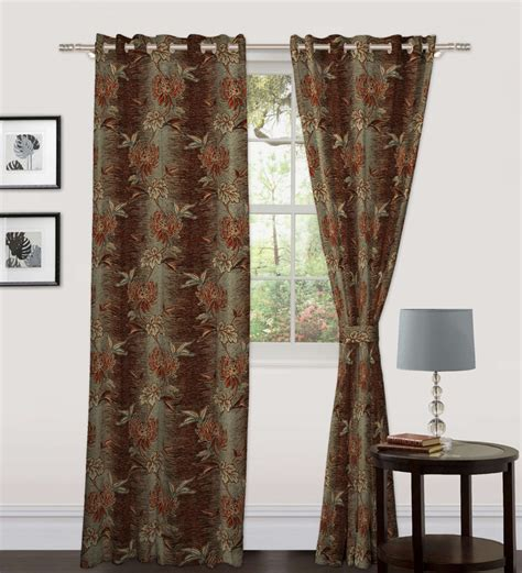 brown flower curtains skipper brown floral window curtain 5 ft by skipper