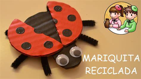 como hacer una mariquita con foamy mariquita con cart 243 n reciclado actividades manuales
