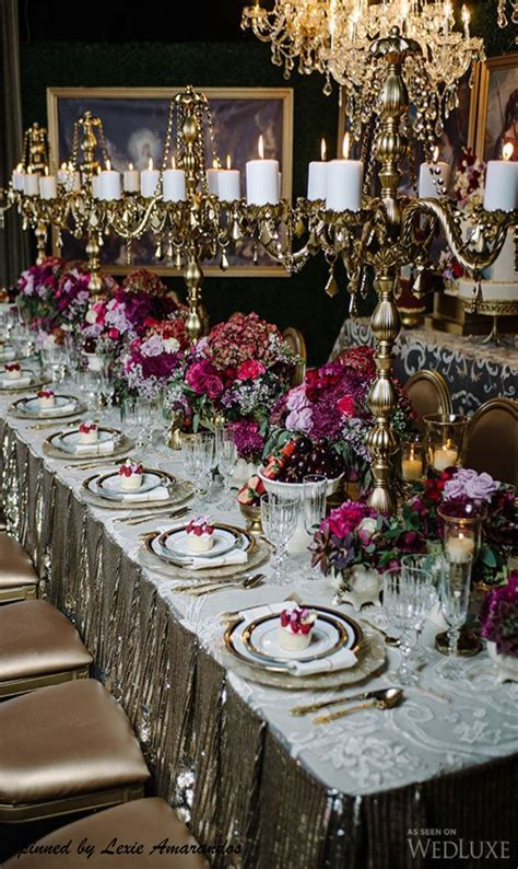 Gold, Silver, Mercury and Raspberry Tablescape   Wedding