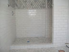 Tile Designs For Bathtub Walls Marble Tile Shower Floor With Ceramic Subway Tile On The