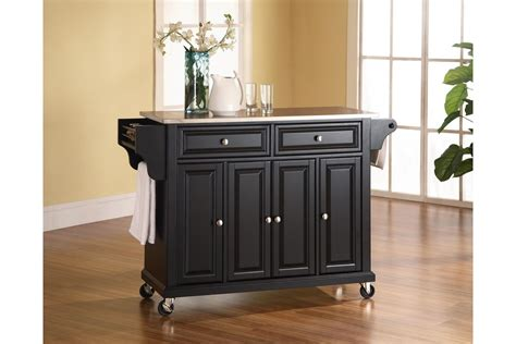 stainless steel top kitchen cart island in black finish stainless steel top kitchen cart island in black by crosley