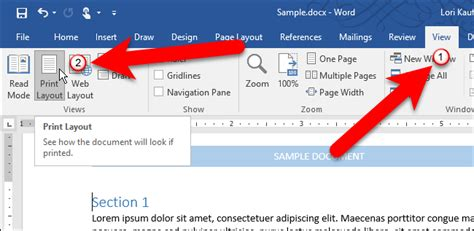 web layout view in ms word how to show and hide the rulers in microsoft word