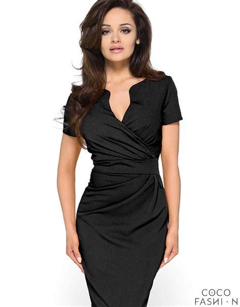 Wrap Around by Wrap Around Self Belted Sheath Black Dress