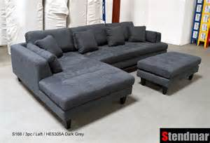 3pc new modern d grey microfiber sectional sofa s168ldg