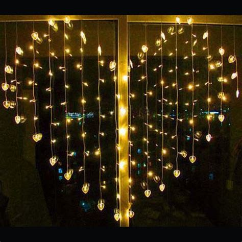 curtain christmas lights indoors led heart shape curtain light indoor party christmas
