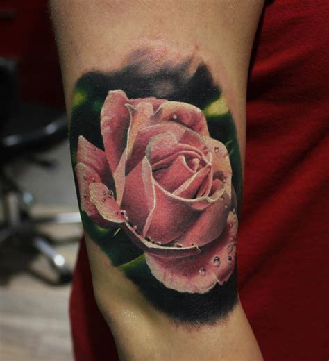 hot pink rose tattoo pink on right bicep