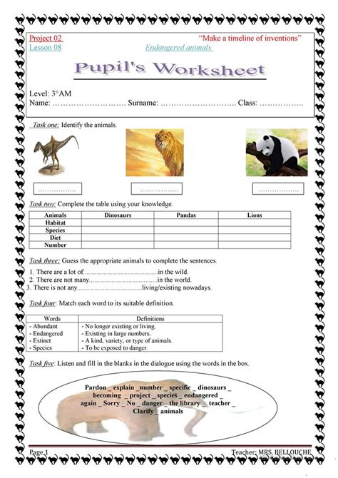 Endangered Species Worksheet by Endangered Animals Worksheets Geersc
