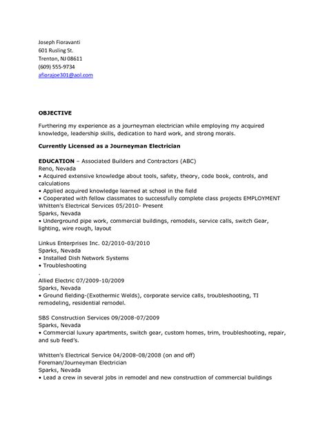 Resume For Electrician by Resume Objective Electrician Talktomartyb