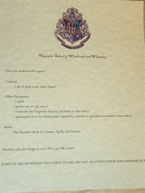 Hogwarts Acceptance Letter Supply List Harry Potter Planning Part 1 Invitations Val City Gal